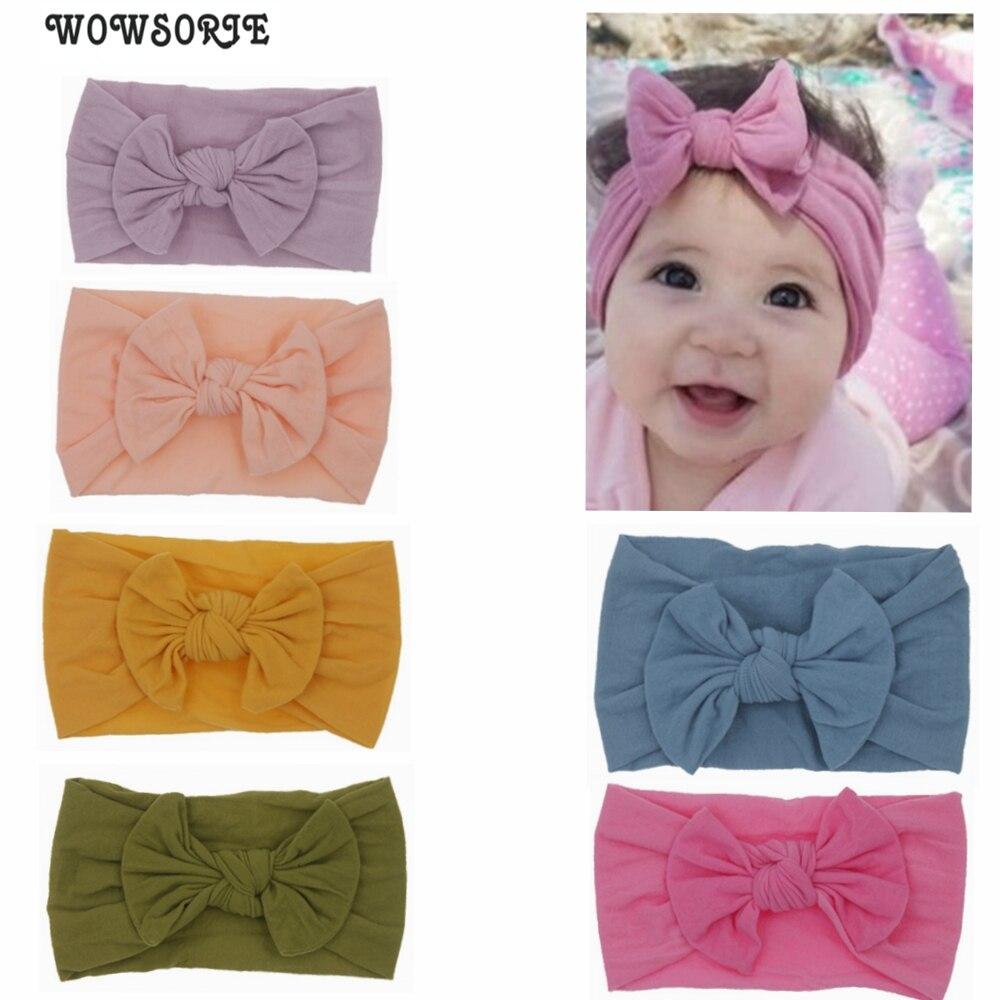 Детская повязка на голову для девочек, Детский мягкий эластичный бант, тюрбан, нейлоновые повязки на голову, повязка на голову с бантом для новорожденных, аксессуары для волос для малышей