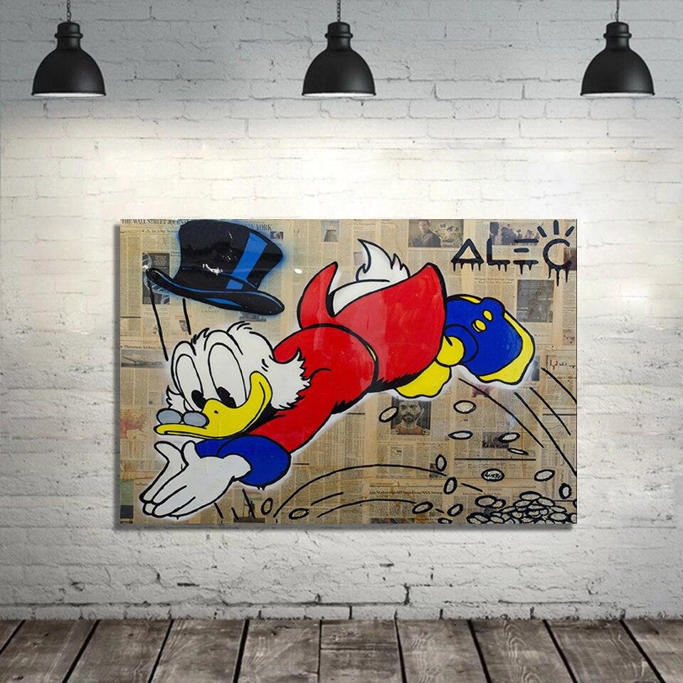 Pareja Amor de álek Monopoly sólo Mcduck Graffiti pintura lienzo imprimir cartel dormitorio habitación Bebé pared arte decoración imagen