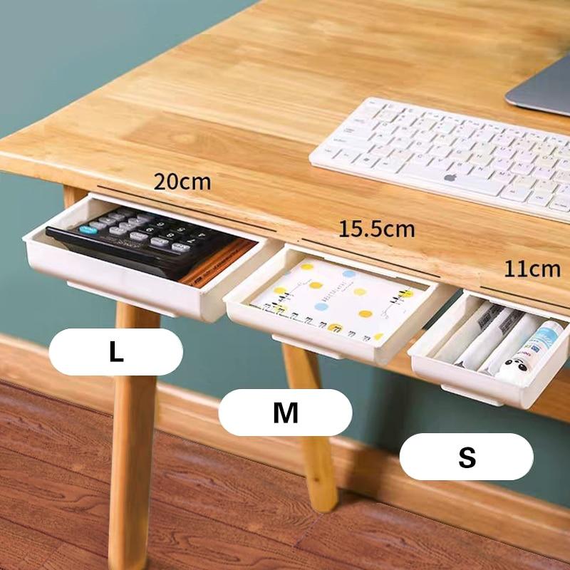 თვითწებვადი ფანქრის უჯრა მაგიდის უჯრის ქვეშ, შენახვის ორგანიზატორი, ორგანიზატორის ყუთების სადგამი, თვითწებვადი უჯრის ქვედა უჯრის სათავსო