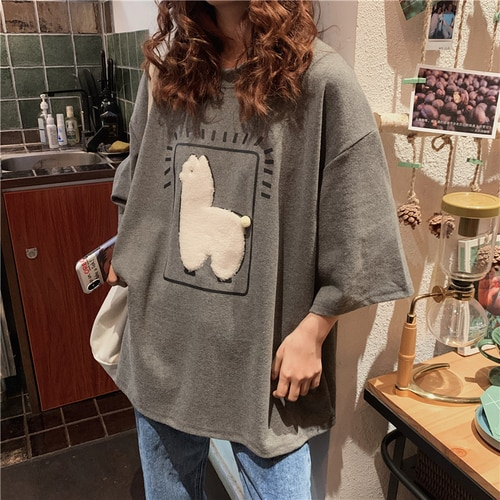 Cartoon Alpaca Animal Printed Casual Loose Oversize Korean Style 2020 Summer Short Sleeve Women Top Female T-shirts