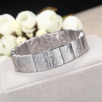20x14mm top natural gibeon meteorite moldavite bracelet for woman lady man silver beads stretch crystal bangle jewelry aaaaa