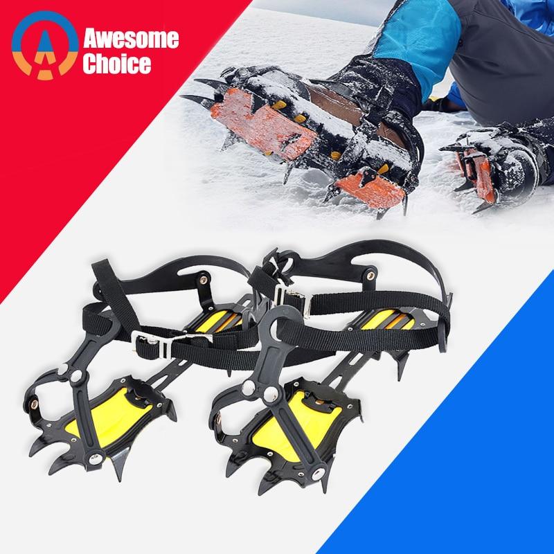 أحزمة قابلة للتعديل من الفولاذ والمنغنيز ، 10 أسنان ، معدات تسلق ، ثلج ، أحذية مضادة للانزلاق ، جهاز تسلق الجبال