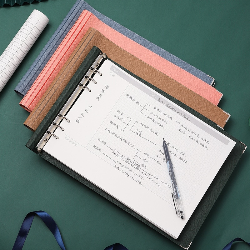 Journal A4 6-hole Loose-leaf Mind Map Leather Diary Binder Notebook Grid Daily Weekly Monthly Planner Notepad Office Stationery