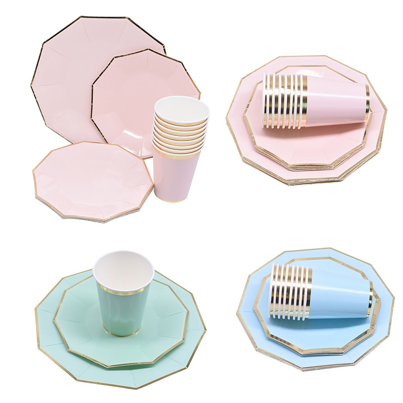 24Pcs Green Pink Blue Party Tableware Set Paper Plates Cups Disposable Tableware for Wedding Birthday Party Baby Shower Supplies 72pcs mint green with gold confetti cake plates 7 premium quality paper plates wedding bridal shower engagement party supplies