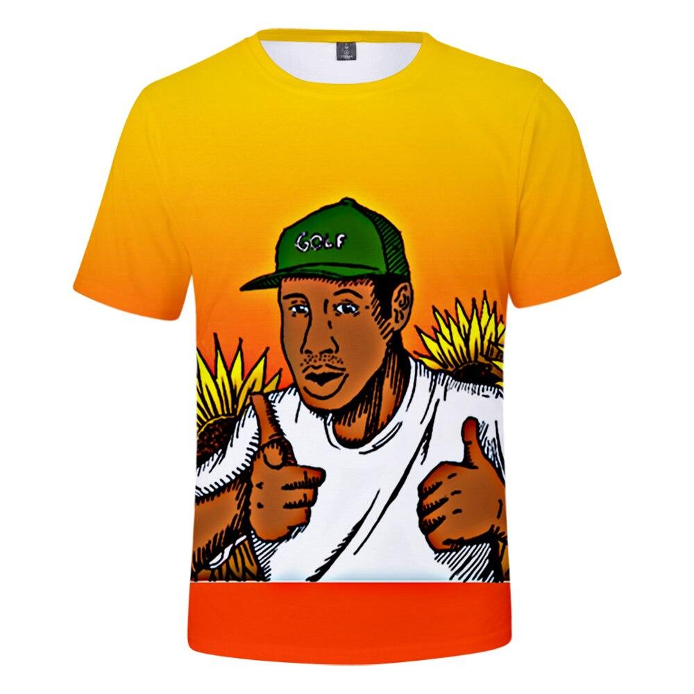 2020 camiseta Tyler The Creator con estampado 3D de flores para niño, Camiseta de cuello redondo para hombre, ropa de calle de manga corta de verano para mujer, ropa Harajuku