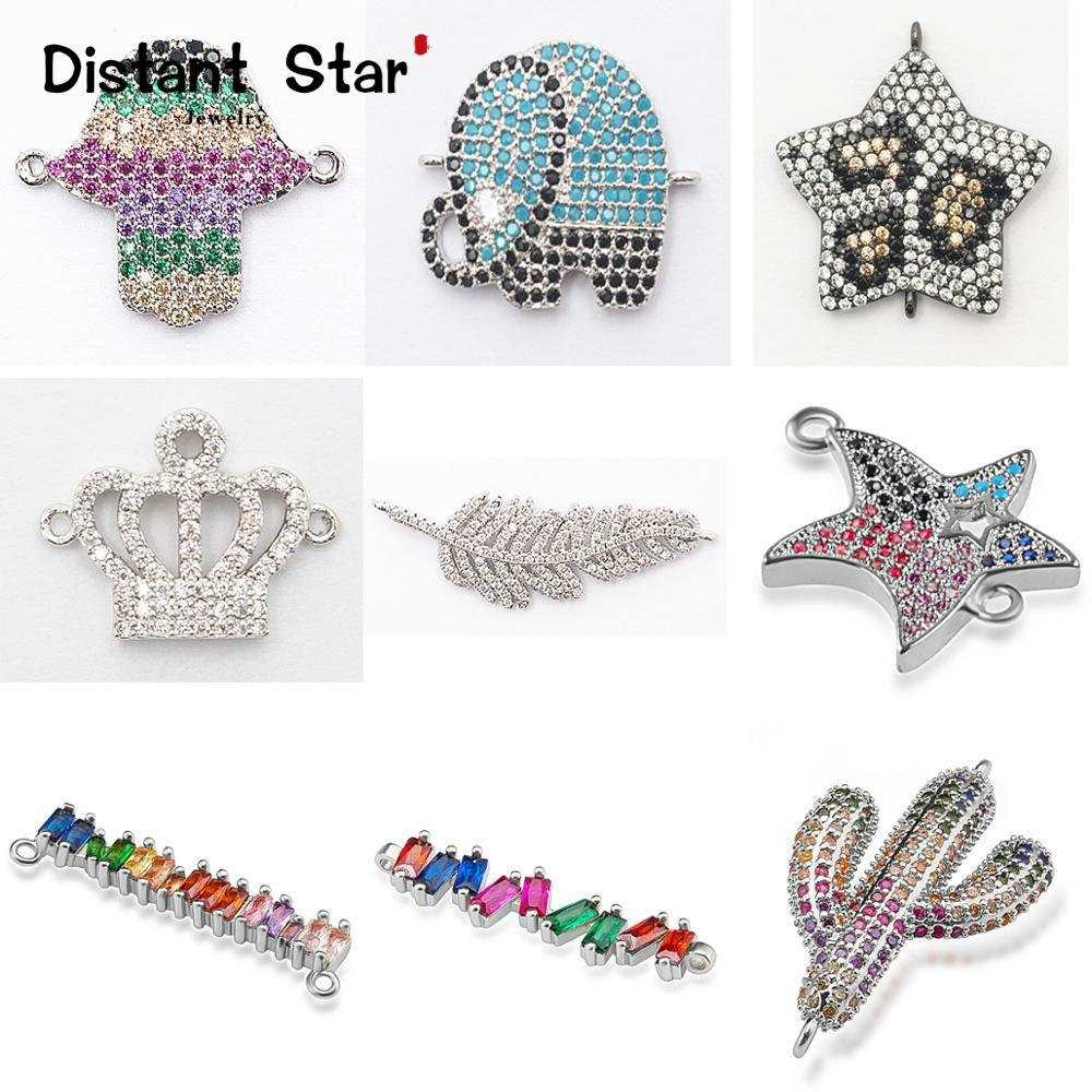 Complete animal charms bracelet jewelry connector accessories for diy bracelet making copper zircon