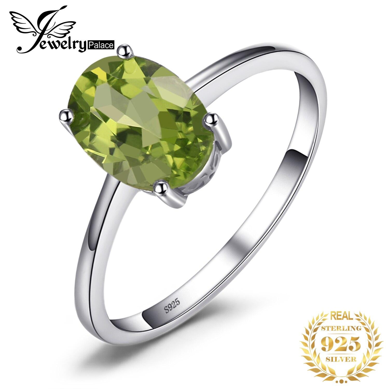 Jewelrypalace Овальный 1.4ct Натуральный Зеленый Перидот Камень пасьянс кольцо из натуральной 925 серебро Для женщин Обручение ювелирные изделия