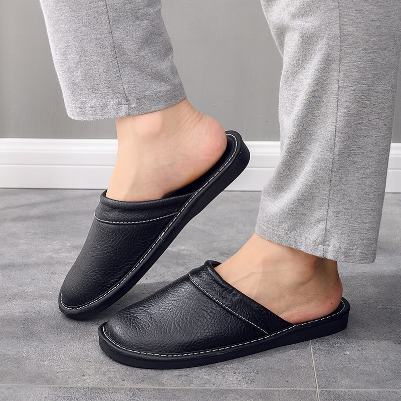 Large Size 46 Black Concise Leather Men's Slippers For Home Indoor Shoes Unisex Room Slippers For Men Drag Shoes Guest Slippers