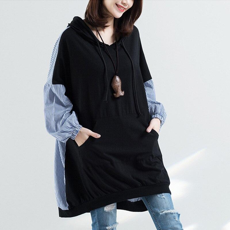 Женская Длинная толстовка с капюшоном, Повседневный пуловер в полоску в Корейском стиле с капюшоном, весна 2021