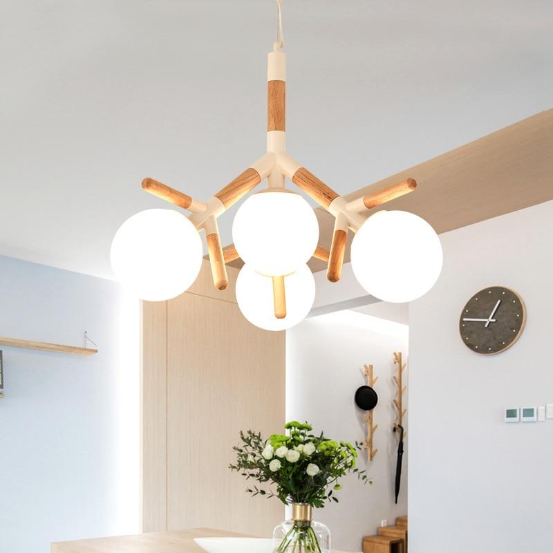 قناديل خشبية الحديثة LED الحد الأدنى E27 كرة زجاجية مصباح الشمال الحديد لغرفة المعيشة المطبخ المدخل الثريا الصغيرة