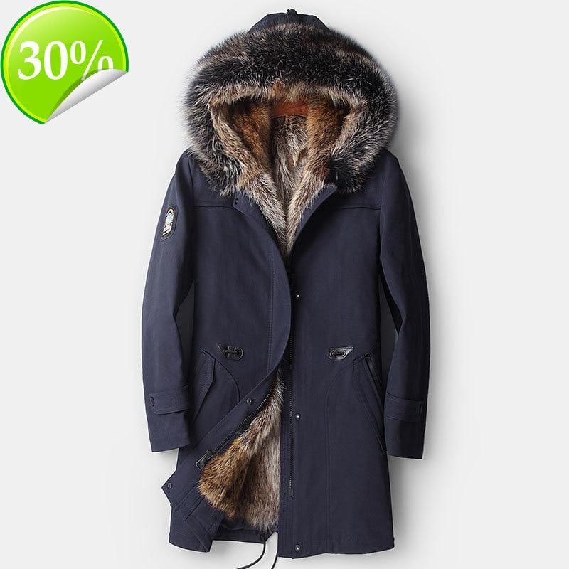 Real piel abrigo chaqueta de invierno de los hombres lobo de Parka ropa 2020 Cuello de piel de mapache abrigo largo Casaco YY868