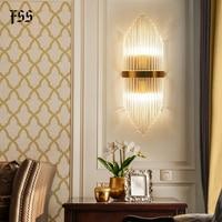 Fss modern gold glass wall sconce wall light bedside for bedroom wall lights living room led home lamp bathroom light fixtures