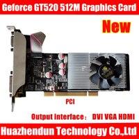 Графическая карта Geforce GT520 512M DVI VGA HD-MI HD с двумя экранами, 1 шт.