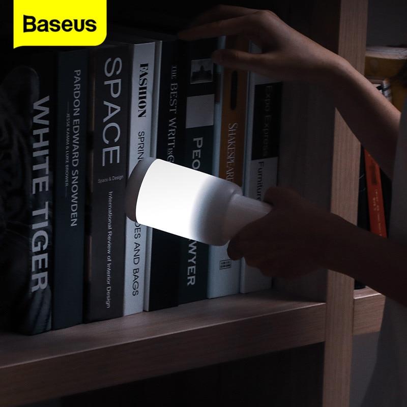 Baseus-مصباح ليلي LED قابل لإعادة الشحن للأطفال ، مصباح سرير قابل للتعديل للرضاعة الطبيعية ، ضوء طوارئ داخلي وخارجي