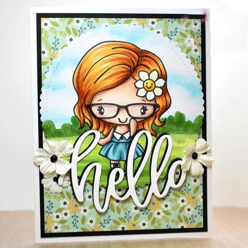 Mono Hola letra Metal troqueles de corte plantillas para álbum para recortes de fotos tarjetas de gofrado de papel DIY decorativas