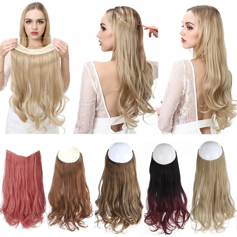 SARLA Halo накладные волосы волнистые невидимые Омбре без зажима синтетические натуральные накладные волосы скрытый провод Корона серый для же...