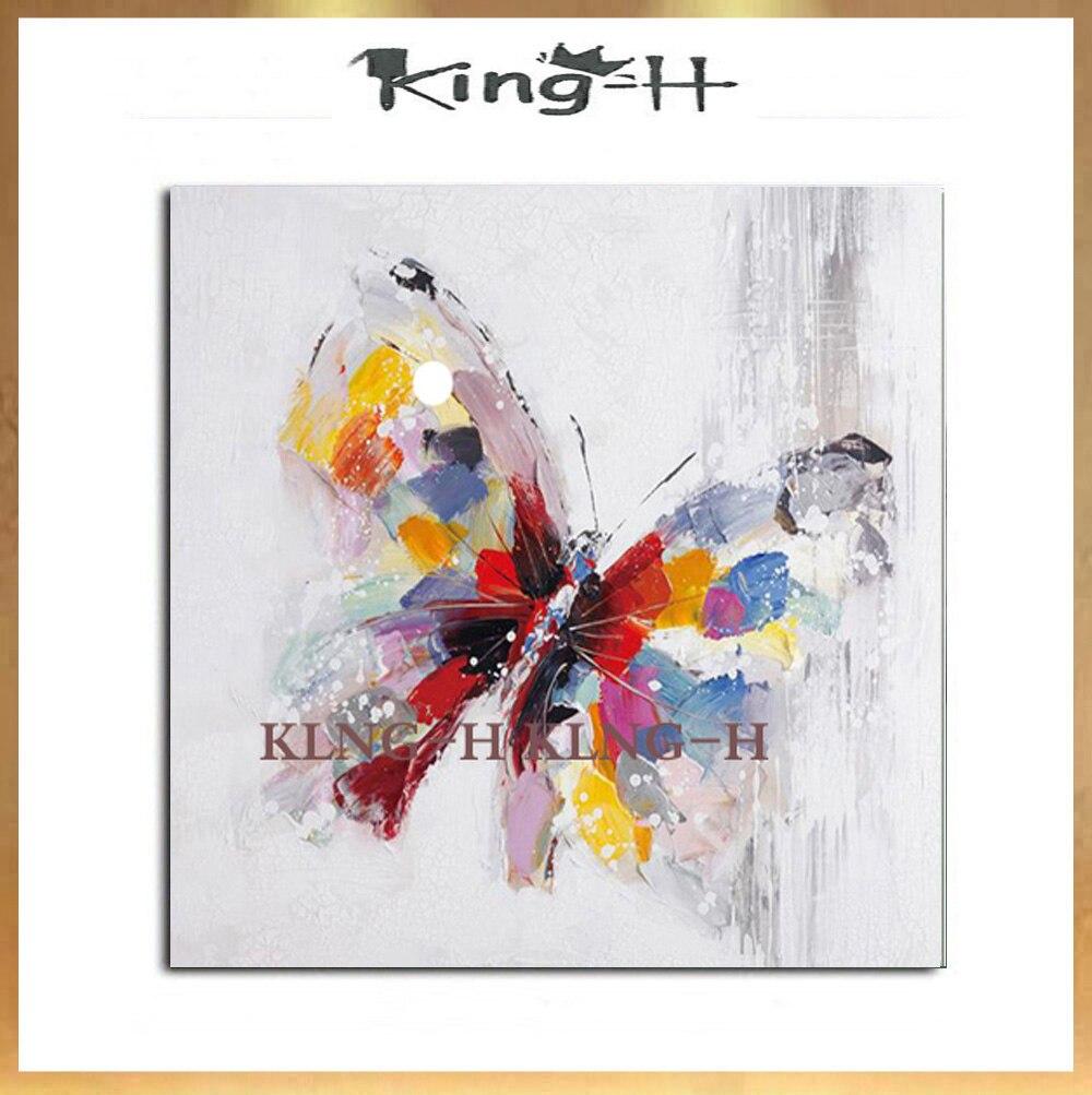 Pintura al óleo de mariposa Adorável hecha abstracta pinturas de animales pintadas um mano a mano sobre lienzo para la decoración