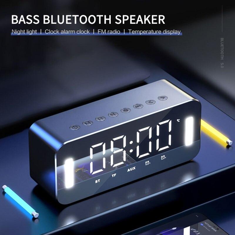 Беспроводная Bluetooth-Колонка MC-H8, Многофункциональные цифровые электронные часы с функцией ночного освещения, FM-радио и термометром