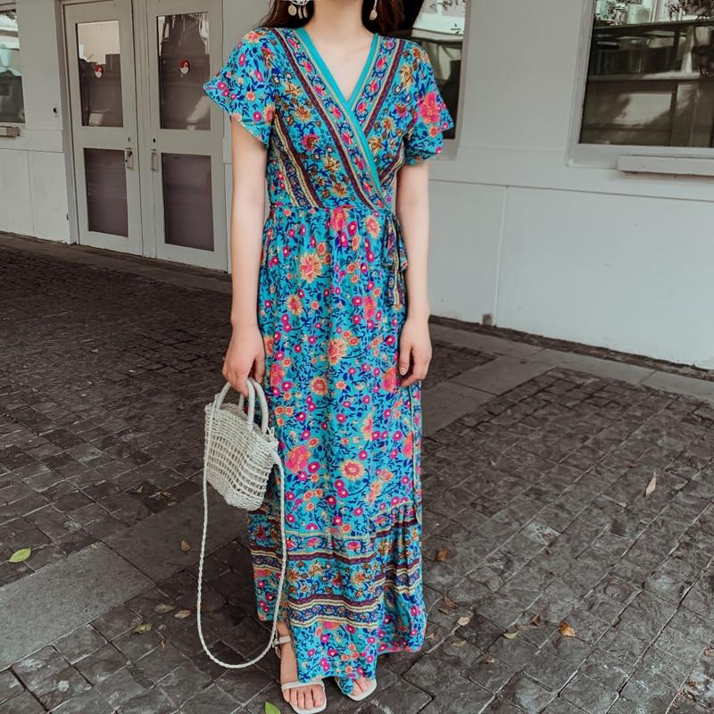 4 cores maxi chiffon floral vestido feminino verão pista étnica boho longo elegante casual férias praia vestido branco borgonha verde
