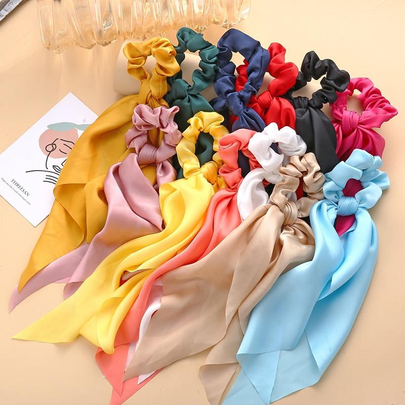 Seidige Satin Scrunchies Frauen Mode Lange Band Haar Seil Einfarbig Streamer Haar Krawatten Für Mädchen Pferdeschwanz Haar Zubehör