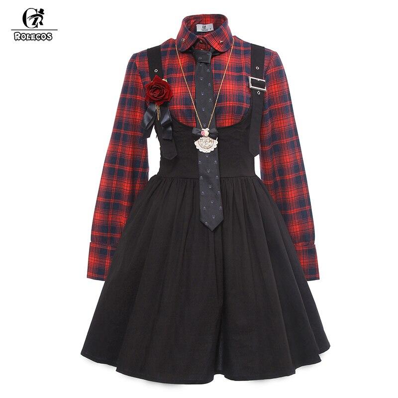 Camisa com Saia Rolecos Nova Chegada Estilo Gótico Lolita Vestido Xadrez Suspensa Vintage Mulheres Punk Vestidos