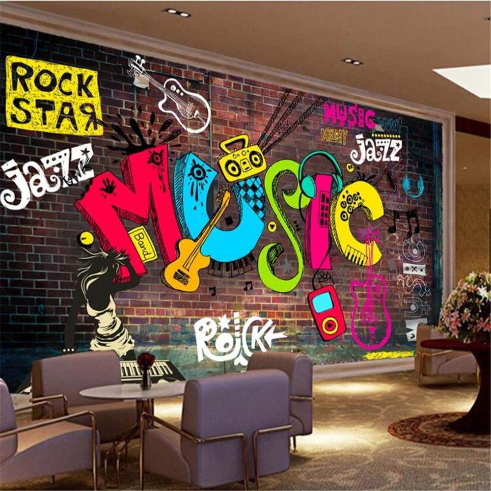 Milofi cool graffiti retro música alfabeto Fondo pared papel mural