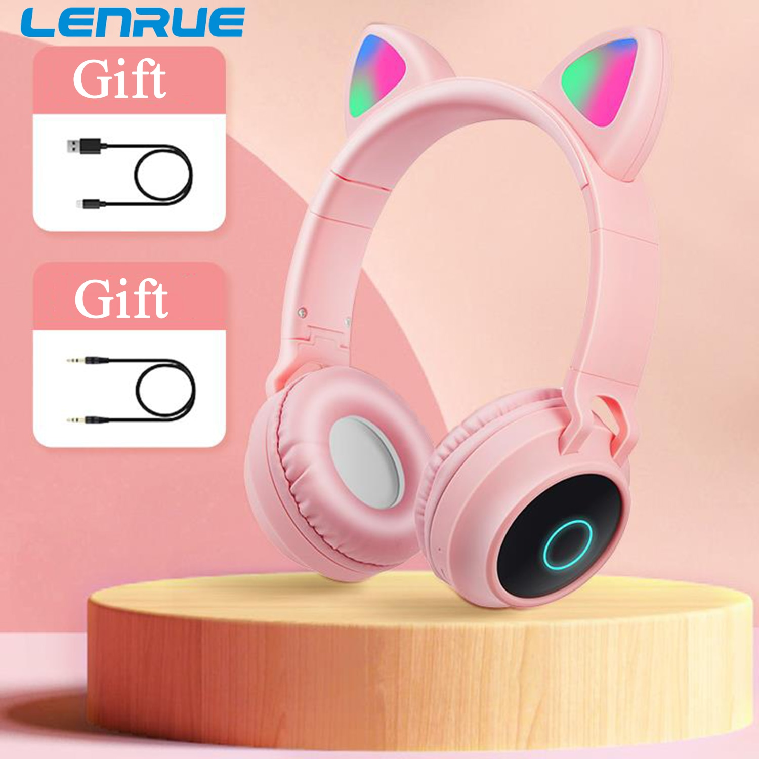 LENRUE A530 Pink LED Cute Cat Gaming Headset for PS4, PC, Wired and Wireless Over-Ear Headphone with