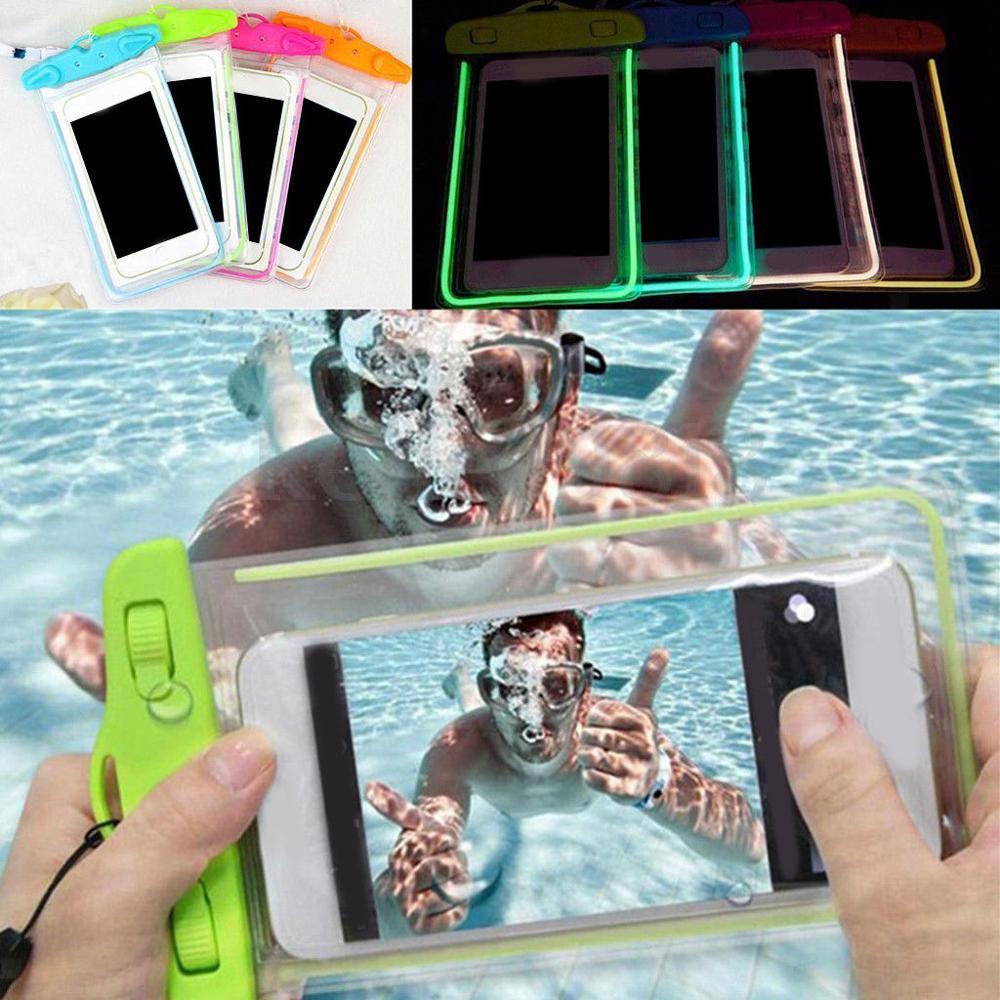 Impermeable paquete sellado bajo el agua piscina playa buceo bolsa seca teléfono celular funda con cuello cordón PVC + ABS