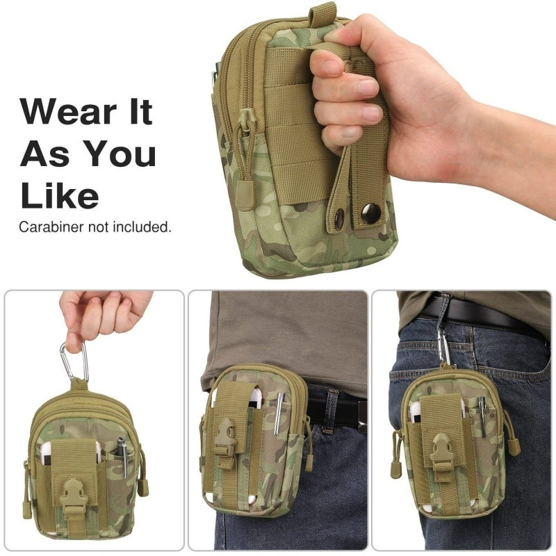 Bolsa táctica Molle EDC, bolsa de cintura al aire libre 1000D multiusos, Gadget de utilidad, cinturón, riñonera con bolso de cinturón de senderismo