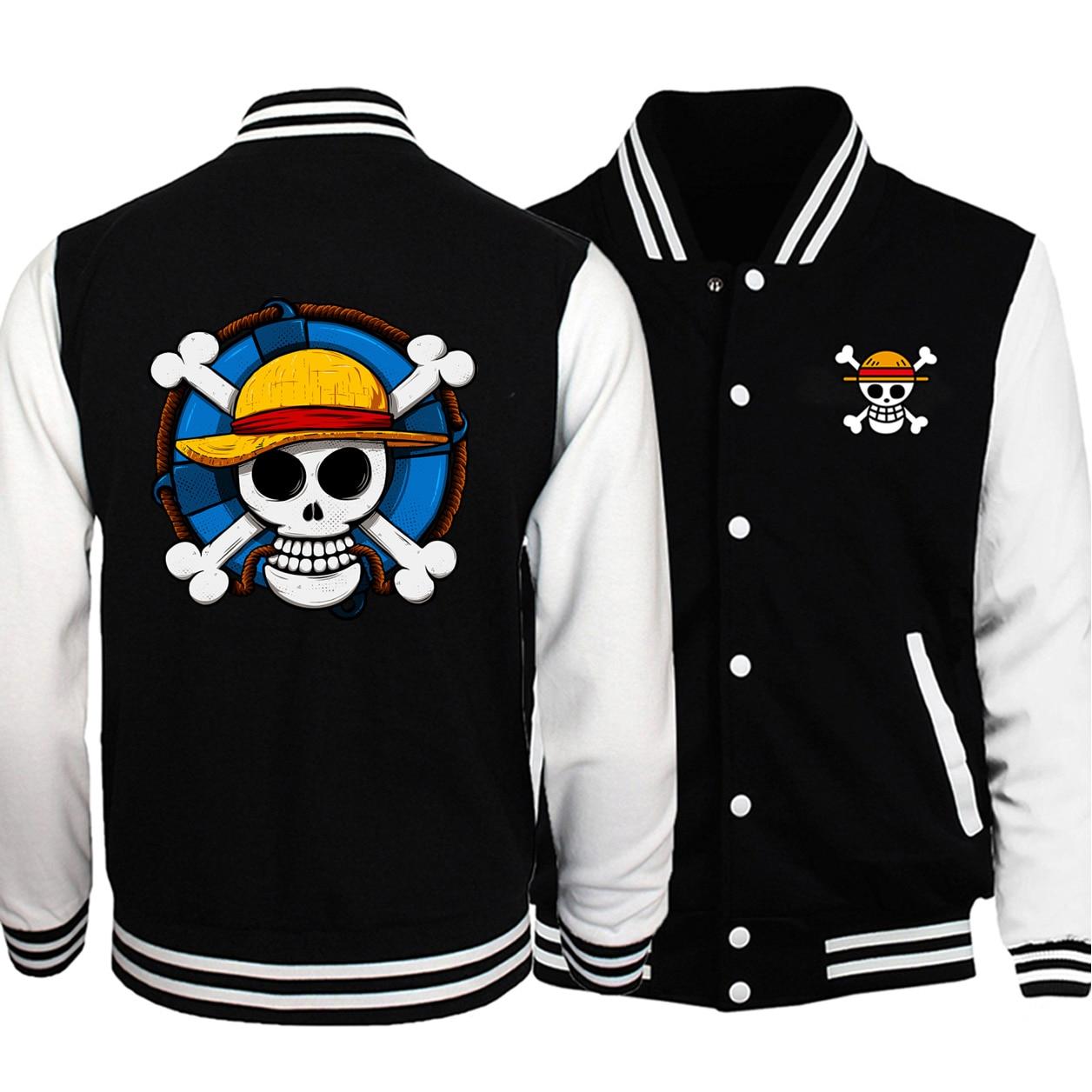 2019 Japón Anime una pieza mono D Luffy bandera pirata hombres béisbol uniforme chaqueta abrigo hombres caliente moda Fitness Casual chaquetas