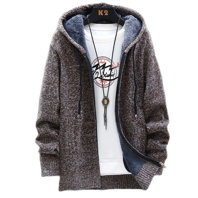Benefits of Free Autumn Korean Hooded Men Thick Sweaters with Velvet Men's Cardigan Knitted Sweatercoats Solid Jacket Male M-3XL