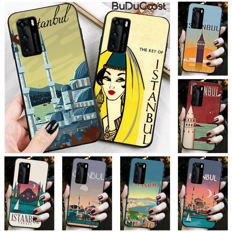 Turkey Istanbul travel poster Phone Case for Huawei P30 P20 Mate 20 Pro Lite Smart Y9 prime 2019
