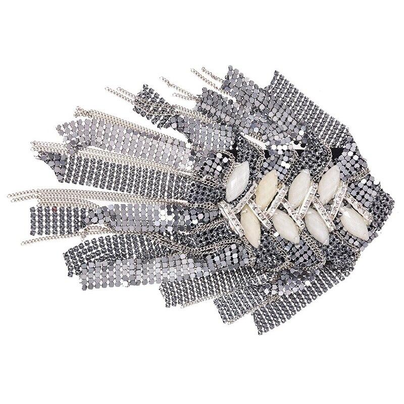 Epaulette tela acrílica de hoja de Metal con flecos con diamantes de imitación