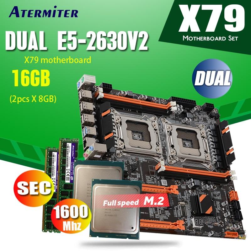 Atermiter X79 Dual CPU Placa base con 2 × Xeon E5 2630 V2 2 × 8GB = 16GB 1600MHz PC3 12800 DDR3 ECC REG de memoria