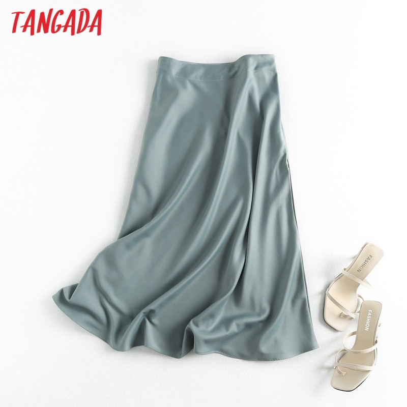 Tangada women solid quality satin midi skirt vintage side zipper office ladies elegant chic A-line skirts 6D18