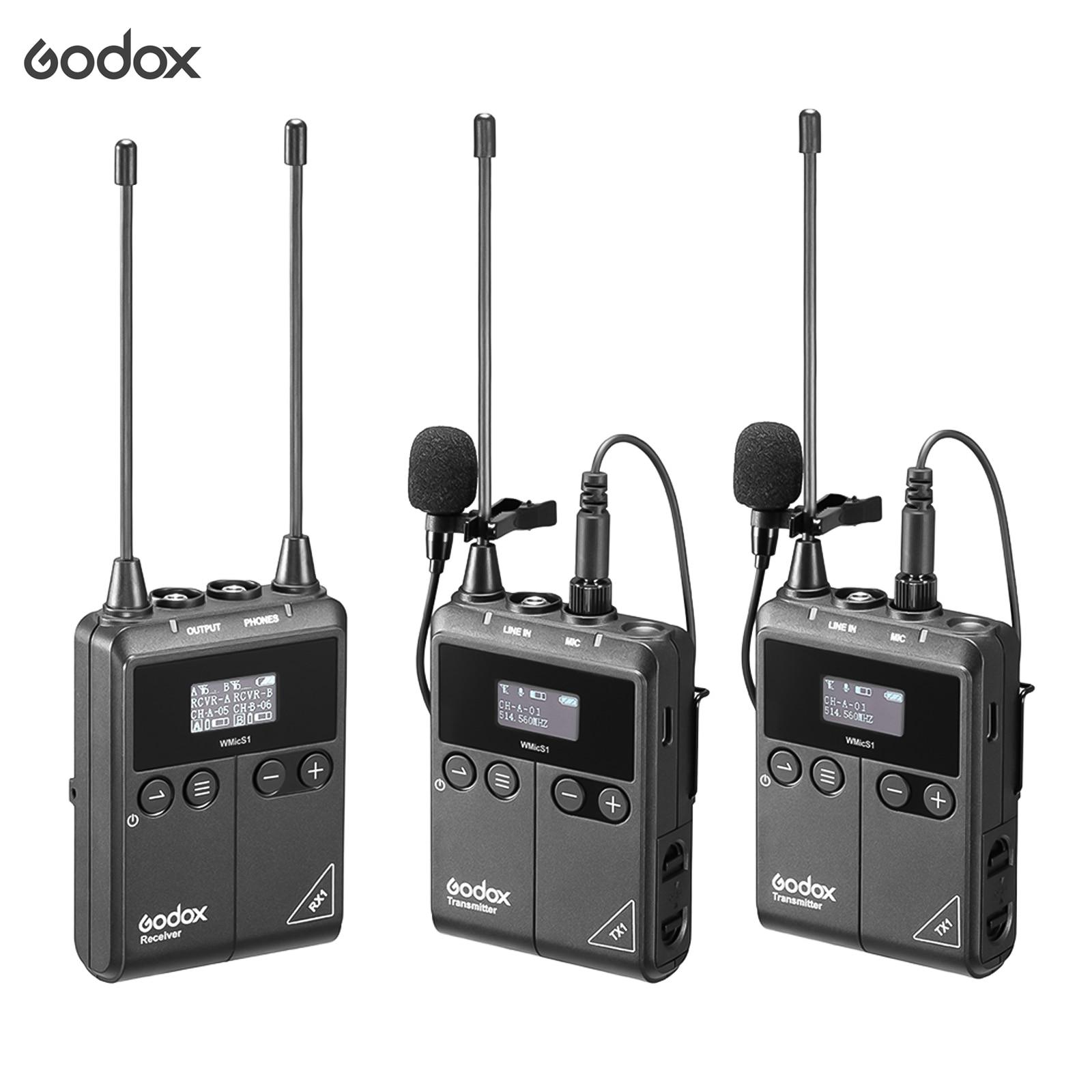 Godox wmics1 kit2 uhf microfone sem fio 2pcs tx1 transmissores corpo-pacote portátil + receptor rx1 para câmera smartphone vlog