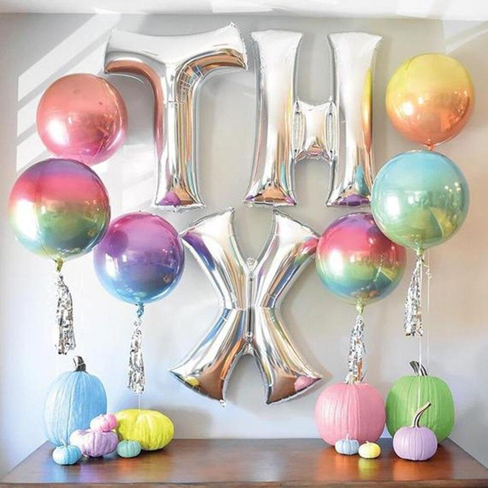 1 Uds. Globo de helio de 22 pulgadas gradiente de Color arcoíris 4D Disco globo de helio globo de la fiesta de bodas foto Props fiesta de bienvenida para el futuro bebé niños juguetes Deco