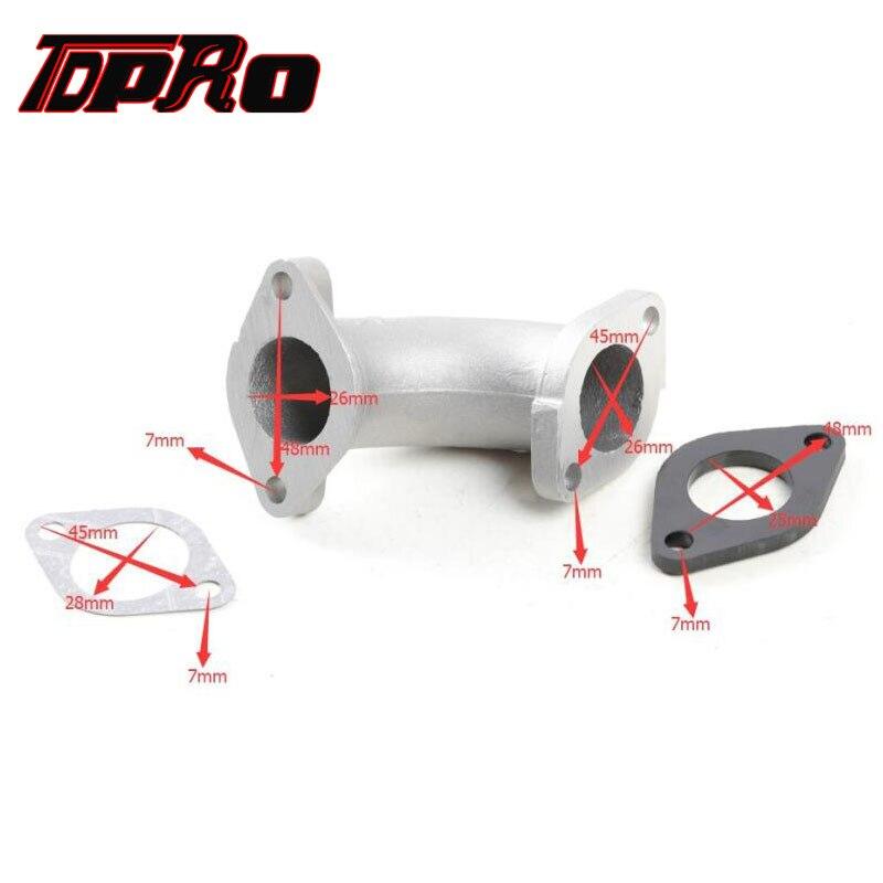 TDPRO, Colector de admisión de carburador de 26mm, junta de tubo de entrada para 110cc, 125cc, 140cc, Lifan YX Quad Dirt Pit Bike ATV Quad Buggy
