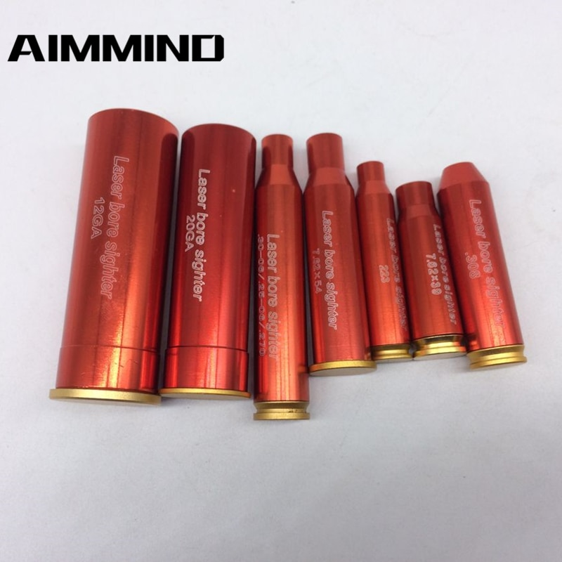 CAL 12/20GA .308 .223 30-06 7.62x39 7.62X54 Red Dot Laser Cartridge Tactical Red Bore Sighter, Red H