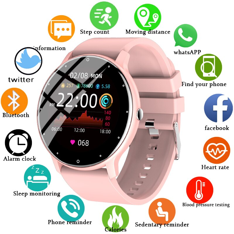LIGE 2021 Fashion Full Touch Screen Smart Watch Women Heart Rate Multifunctional Sports Fitness Wate