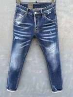 2021 new dsquared2 menswomens jeans fashion washed slim fit blue stretch pants dsq2 050