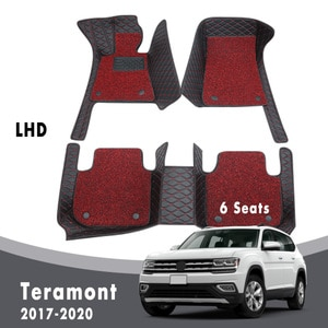 Car Floor Mats For Teramont 2020 2019 2018 2017 (6 Seats) Carpets Auto Luxury Double Layer Wire Loop Leather For Volkswagen VW