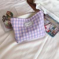 2021 new cosmetic bag korean plaid beauty pouch cosmetic organizer large women travel toiletry bag necesserie makeup beauty case