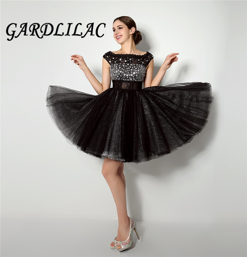 Gardlilac-فستان حفلة قصير أسود ، مطرز ، ثوب حفلة