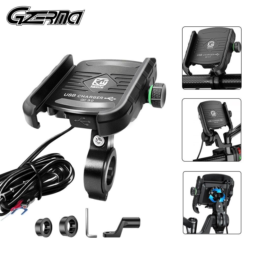 حامل هاتف خلوي للدراجات النارية مع شاحن USB ، QC 3.0 ، مرآة GPS ، 3.5-6.5 بوصة