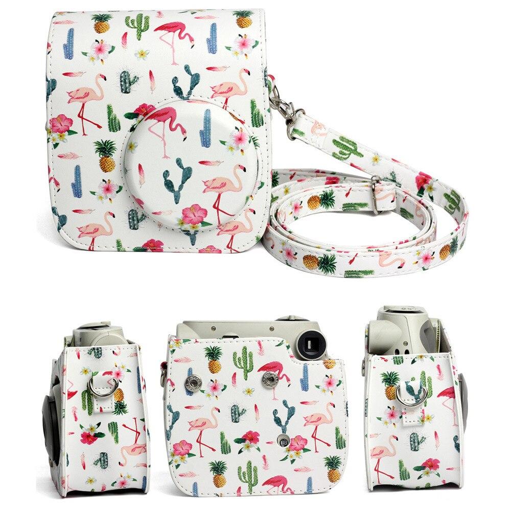 Housse de étui de protection pour appareil photo avec bandoulière pour Fujifilm Instax Polaroid Mini 7S Mini7S 7C sacs à main couleur cuir PU