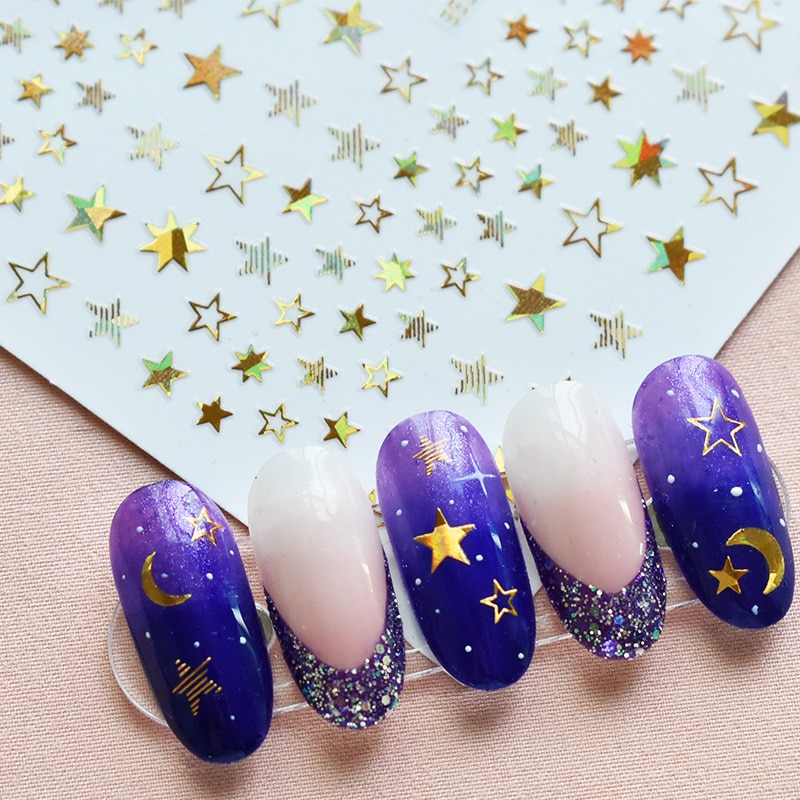 1 Sheet 3D Shiny Stars Nail Stickers Glitter Nail Decoration Decals DIY Transfer Adhesive Golden Silver Nail Tips Accessories