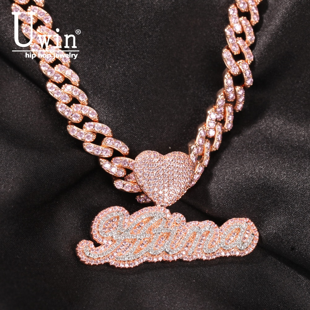 Get Uwin Csutom Cursive Letter With Heart Clasp 9mm Iced Out Cuban Chain Name Necklace Chain Cubic Zirconia Fashion Hiphop Jewelry