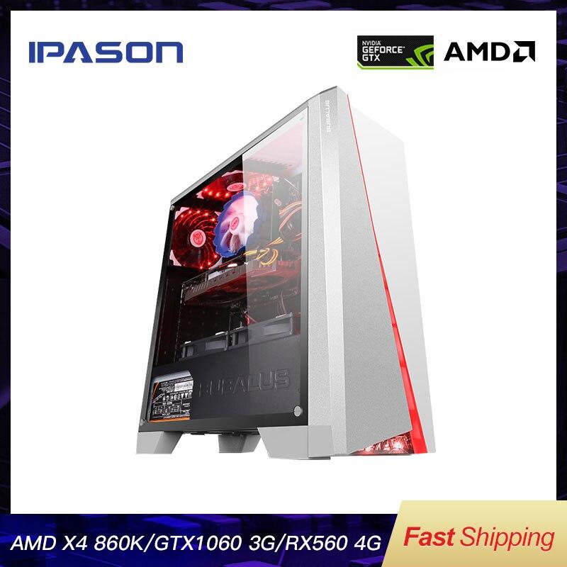 IPASON Büro Desktop-Computer Gaming Karte 1050TI Upgrade/RX560 4G AMD X4 860K RAM D3/D4 8G 120G SSD Günstige Gaming PC