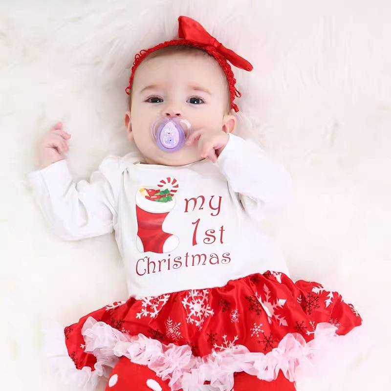 4pcs Toddler Girl Outfits Baby Girl Fall Clothes Set Bow Dress Headband Fashion Christmas Baby Costume Infant Girl Clothes 2021 недорого